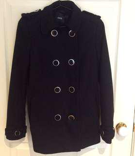 ASOS Black Double Breasted Military Coat
