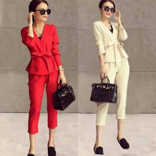 🍃Corporate Waisted Blouse and Pants Ternoset