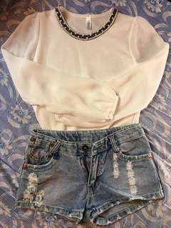 Denim tattered shorts and white long sleeves bundle