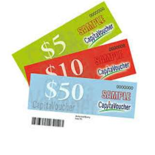 CAPITAMALL VOUCHERS $300 (In $50, $10, $5)