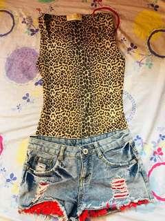 Zara Leopard top and tattered short bundle