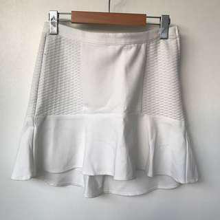 White Mermaid Fit Mini Skirt