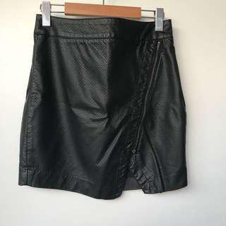 Black Pleather Mini Angled Mini Skirt