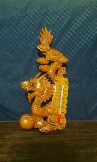 Wood Crafted dragon with thermometer
