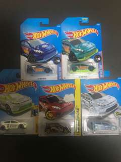 Hotwheels 2012 Ford Fiesta Die-cast Cars Set of 5