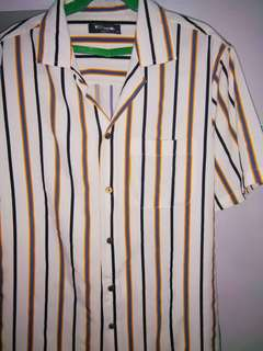 White Mustard Stripes Cuban Buttondown Polo