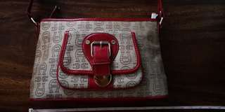 PRELOVED DESIGNER BAGS ON SALE!!! ETIENNE AIGNER SIGNATURE LOGO HANDBAG WITH RED LEATHER TRIM AND STRAP