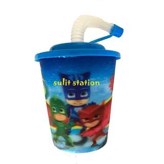 PJ MASKS PARTY HARD PLASTIC REUSABLE TUMBLER cover straw GIVEAWAYS SOUVENIR