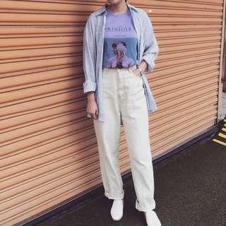 🚚 淺紫圖案上衣