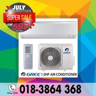NEW Aircond 1.0hp GREE RM599/SHARP RM699 only~