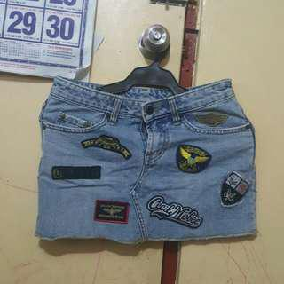 Patches Denim Skirt
