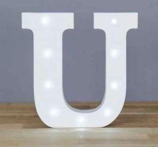 (316) Decorative LED Alphabet White Wooden Letters - Letter U