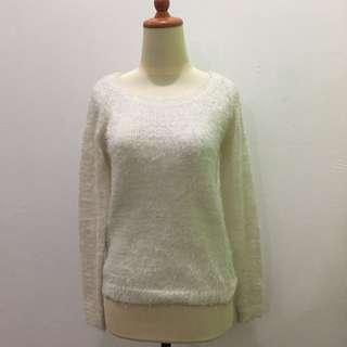 Stradivarius White Fur Sweater