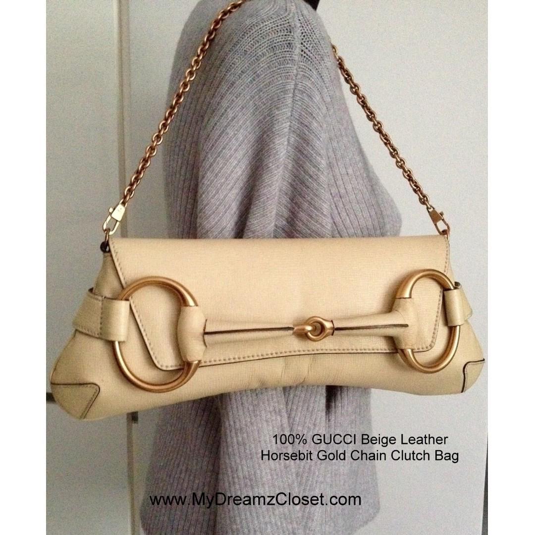 100% GUCCI Beige Leather Horsebit Gold Chain Clutch Bag