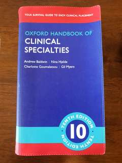 LATEST 10TH ED Oxford Handbook of Clinical Specialties. Free delivery