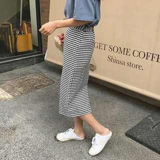 🚚 📣特價 高腰格子包臀裙(後鬆緊)2色♡預購♡