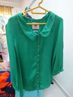 Green emerald Chiffon Blouse