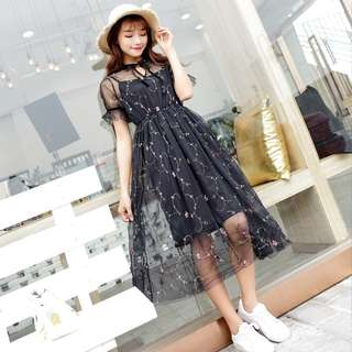 [PO] Mesh Floral Midi Dress