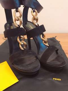 Fendi gold chained trimmed suede sandals