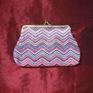 Purple Knit Pattern Straw Purse