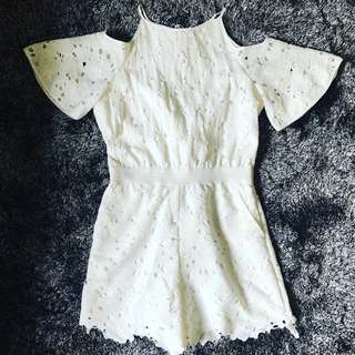 Plains and Prints White Romper or Playsuit