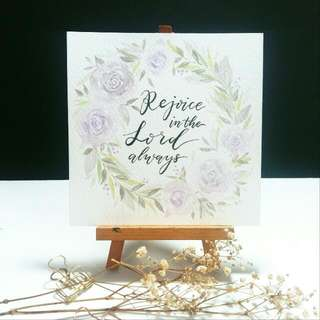 Handpainted Watercolour Floral Wreath Design Card (Rejoice In The Lord Always)