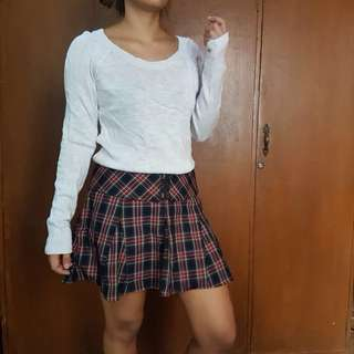Bundle Knitted top & Plaid Skirt