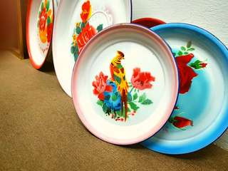 Vintage Enamel Plate tray . 30cm 鸟语花香