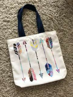Feathers tote bag natural arrow feather