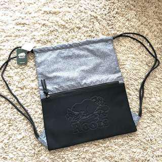 Roots backpack, light backpack, string backpack grey black