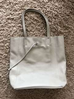Genuine leather tote bag made in Italy Celine look alike light grey