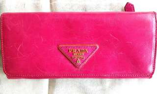 Prada vintage bright pink long wallet