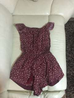 Maroon Floral Strapless Playsuit
