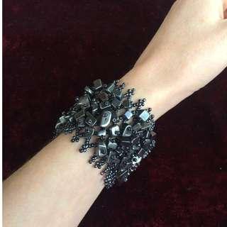 Hematite Gemstone Cuff Bracelet