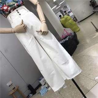 韓國高腰顯瘦闊腿褲全新