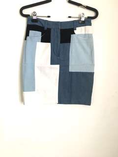 Phillip Lim Denim Patchwork Blue Skirt