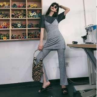 VM 春夏歐美 性感舒適OL氣質簡約風 V領吊帶兩件式 開叉闊腿褲 套裝(可拆開穿)2色