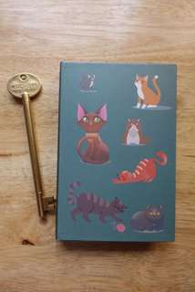 Cat design notebook with pen