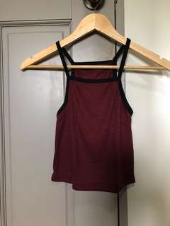 Maroon Ringer Sleeveless Cropped Top
