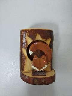 Made in Japan 木製小狐狸筆筒
