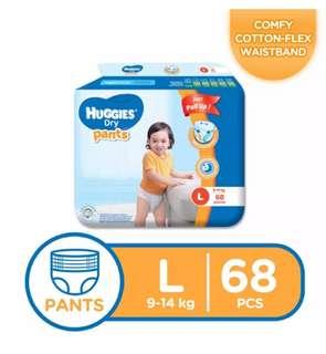 Huggies Dry Pants Large 68s