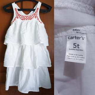 Carter's Embroidered White Dress