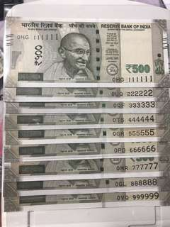 (111111 To 999999) '0' prefix new Indian 500 Rupees Solid Numbers