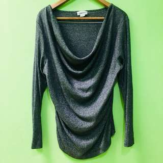 Calvin Klein silver glittery long-sleeved shirt