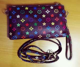 Coffee Colour Woman Flower Pattern Small Bag