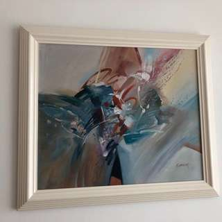 Modern Art Oil Painting in White Wooden Frame