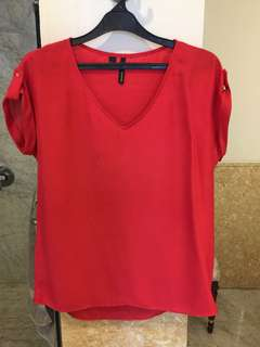Mango Red Satin Top