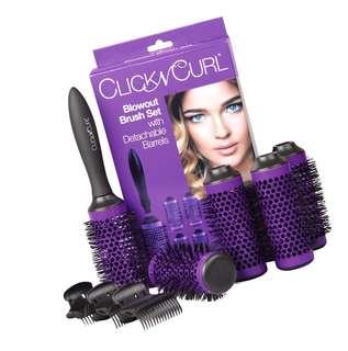 "(275) Click n Curl Medium Blowout Brush Set | (5) - 1.75"" Detachable Barrels | Round Brushes | Hair Rollers | Hair Combs | Ceramic Coated w/ Nylon Bristles | Professional Salon Styling Brush"