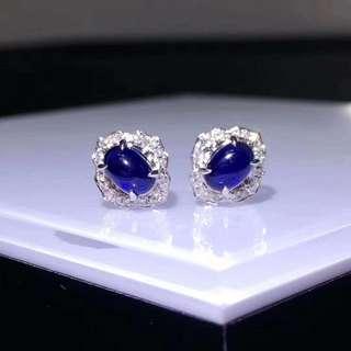 18k天然藍寶石耳釘