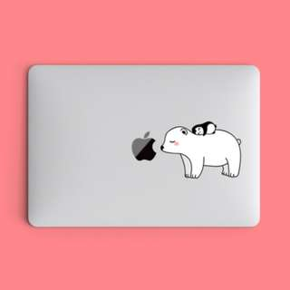 Penguin Lying on Polar Bear Laptop Macbook Vinyl Decal